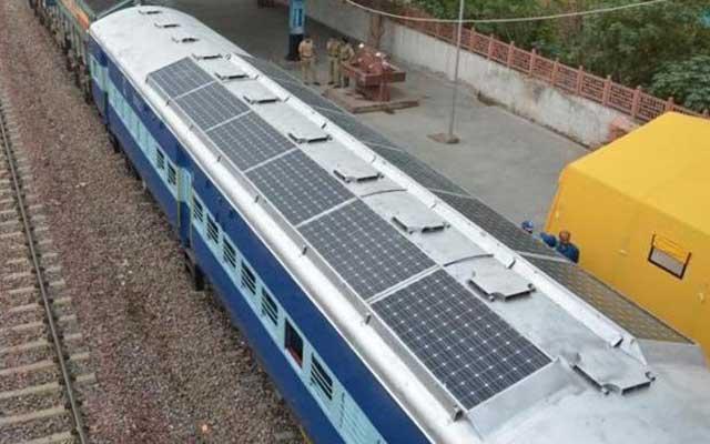 Solar panel railway coach