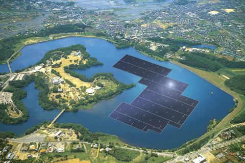Rendering of the 13.7MW plant on the Yamakura Dam reservoir in Chiba Prefecture, Japan