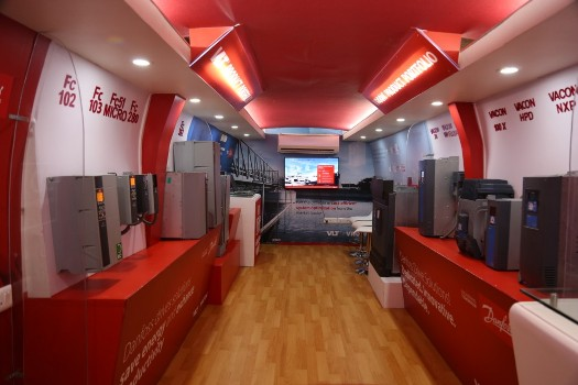 Danfoss Energy Efficiency Yatra Bus houses energy saving products for various heavy industries