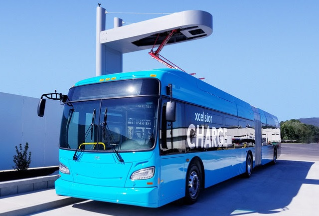 A New Flyer Xcelsior bus charging